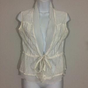 Dressbarn Womens S Sheer White Sleeveless Vest